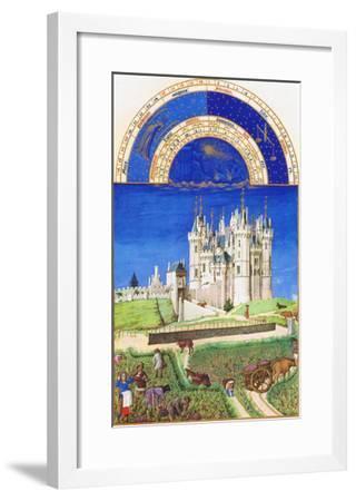Le Tres Riches Heures Du Duc De Berry - September-Paul Herman & Jean Limbourg-Framed Art Print