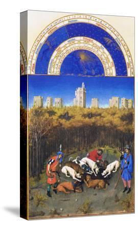 Le Tres Riches Heures Du Duc De Berry - December-Paul Herman & Jean Limbourg-Stretched Canvas Print