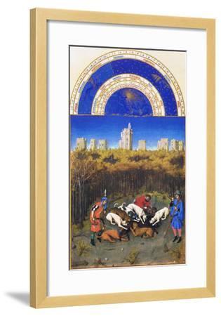 Le Tres Riches Heures Du Duc De Berry - December-Paul Herman & Jean Limbourg-Framed Art Print