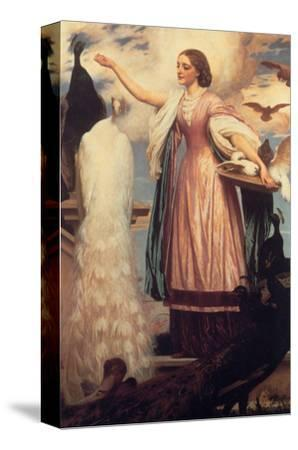 A Girl Feeding Peacocks-Frederick Leighton-Stretched Canvas Print