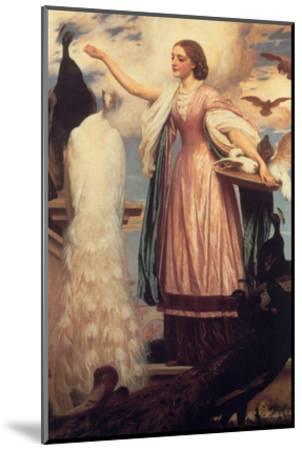A Girl Feeding Peacocks-Frederick Leighton-Mounted Art Print