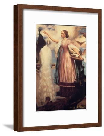 A Girl Feeding Peacocks-Frederick Leighton-Framed Art Print