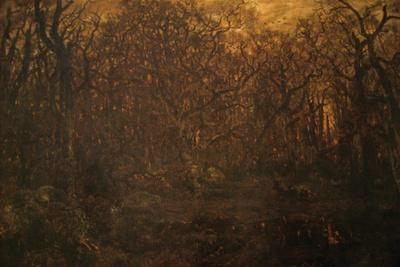 Winter Forest at Sunset-Pierre Etienne Theodore Rousseau-Stretched Canvas Print