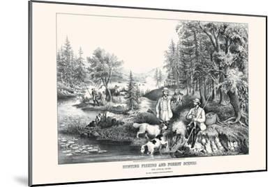 Hunting Fishing and Forest Scenes: Good Luck All Around-Currier & Ives-Mounted Art Print
