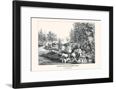 Hunting Fishing and Forest Scenes: Good Luck All Around-Currier & Ives-Framed Art Print