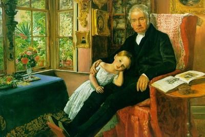 James Wyatt and His Granddaughter-John Everett Millais-Stretched Canvas Print