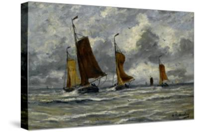 Ships at Full Sea-Hendrik William Mesdag-Stretched Canvas Print