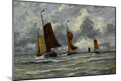 Ships at Full Sea-Hendrik William Mesdag-Mounted Art Print