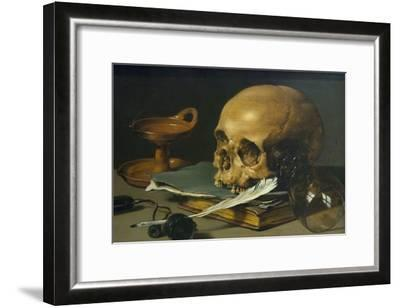 Still Life with a Skull and a Writing Quill, 1628-Pieter Claesz-Framed Art Print