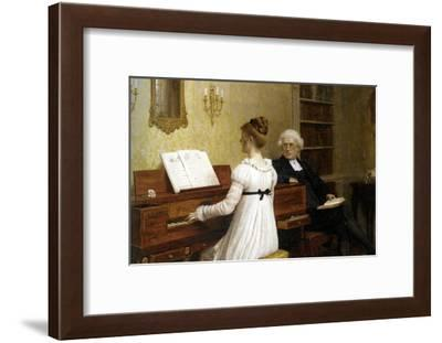 The Piano Lesson-Edmund Blair Leighton-Framed Art Print