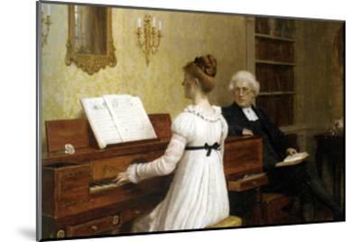 The Piano Lesson-Edmund Blair Leighton-Mounted Art Print