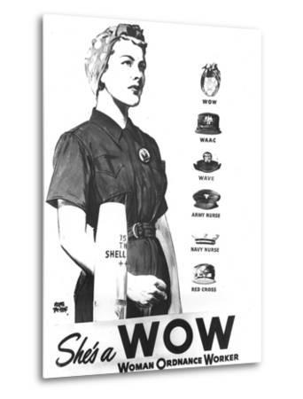 WWII U.S. Woman Ordnance Worker- U.S. Army Signal Corps-Metal Print