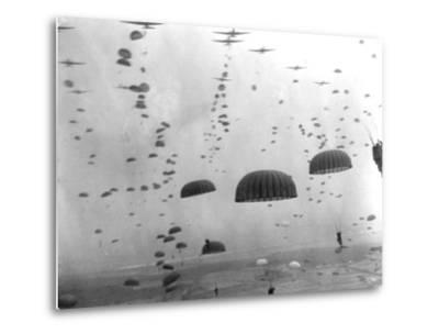 WWII Parachutes over Holland--Metal Print