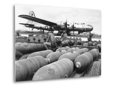 WWII Loading U.S. Bombers--Metal Print