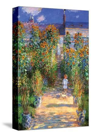 The Artist's Garden at Vetheuil-Claude Monet-Stretched Canvas Print