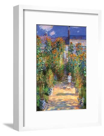 The Artist's Garden at Vetheuil-Claude Monet-Framed Art Print