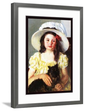 Francoise with a Black Dog-Mary Cassatt-Framed Art Print