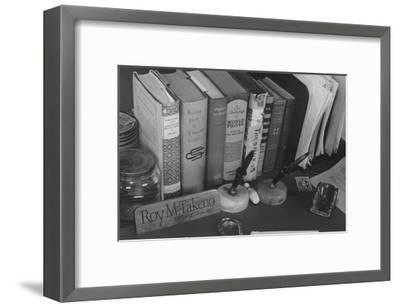 Roy Takeno's Desk, Manzanar Relocation Center-Ansel Adams-Framed Art Print