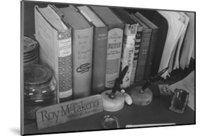 Roy Takeno's Desk, Manzanar Relocation Center-Ansel Adams-Mounted Art Print