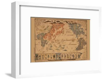 Japanese Map of the World; People of Many Nations--Framed Art Print