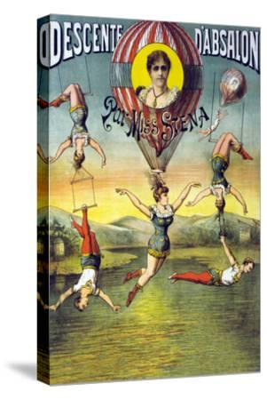 French Balloon Circus Poster--Stretched Canvas Print