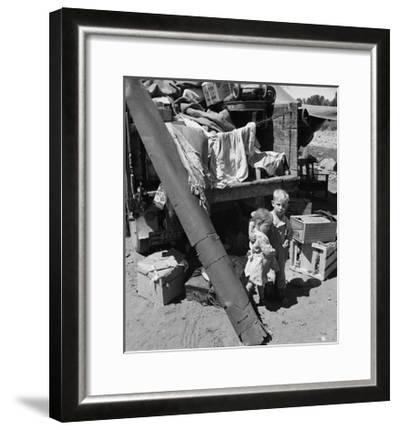 """Migratory Children Living in """"Rambler's Park.""""-Dorothea Lange-Framed Art Print"""