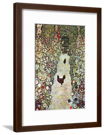 Garden Path with Chickens-Gustav Klimt-Framed Art Print
