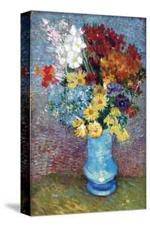 Flowers in a Blue Vase by Van Gogh-Vincent van Gogh-Stretched Canvas Print