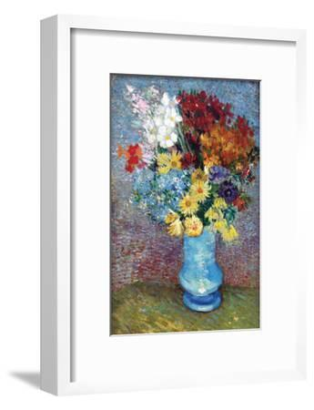 Flowers in a Blue Vase by Van Gogh-Vincent van Gogh-Framed Art Print