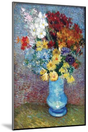 Flowers in a Blue Vase by Van Gogh-Vincent van Gogh-Mounted Art Print