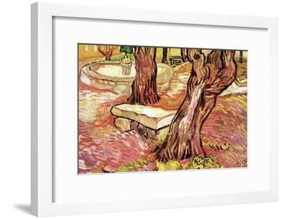 The Stone Bench in the Garden of Saint-Paul Hospital-Vincent van Gogh-Framed Art Print