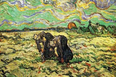 Two Peasant Women Digging in Field with Snow-Vincent van Gogh-Stretched Canvas Print