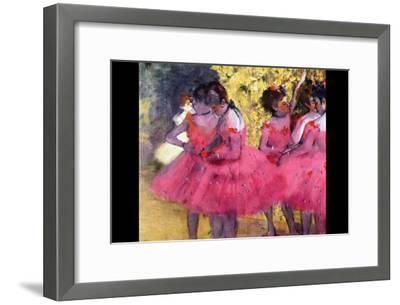 Dancers in Pink Between the Scenes-Edgar Degas-Framed Art Print