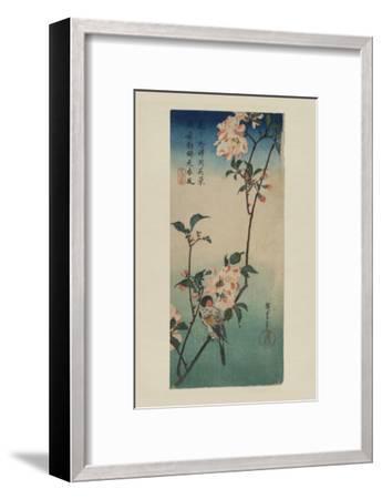 Small Bird on a Branch of Kaidozakura (Kaido Ni Shokin)-Ando Hiroshige-Framed Art Print