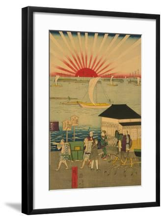 Famous Places in Tokyo: Real View of Takanawa No.2 Featuring the Rising Sun-Ando Hiroshige-Framed Art Print