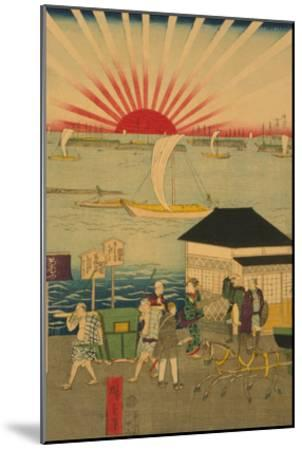 Famous Places in Tokyo: Real View of Takanawa No.2 Featuring the Rising Sun-Ando Hiroshige-Mounted Art Print