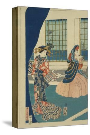 Courtesans in a Western-Style Building of Yokohama (Yokohama No Yokan No Yujo)-Sadahide Utagawa-Stretched Canvas Print