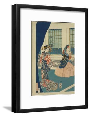 Courtesans in a Western-Style Building of Yokohama (Yokohama No Yokan No Yujo)-Sadahide Utagawa-Framed Art Print
