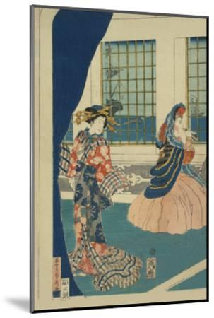 Courtesans in a Western-Style Building of Yokohama (Yokohama No Yokan No Yujo)-Sadahide Utagawa-Mounted Art Print