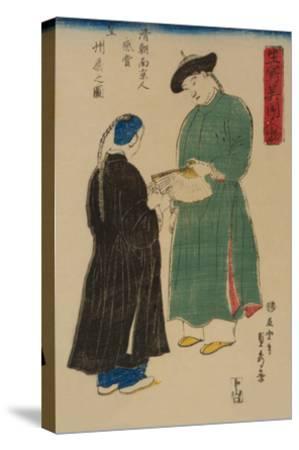 Chinese from Nanking Admire Koshu? Fan (Shincho? Nankinjin Kansho Koshu? O?Gi No Zu)-Sadahide Utagawa-Stretched Canvas Print