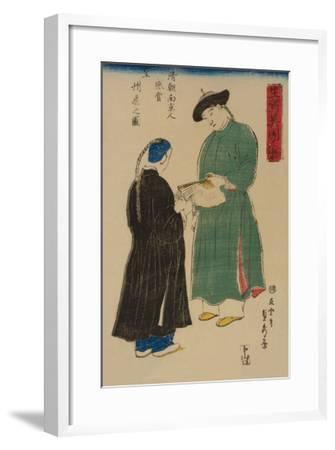 Chinese from Nanking Admire Koshu? Fan (Shincho? Nankinjin Kansho Koshu? O?Gi No Zu)-Sadahide Utagawa-Framed Art Print