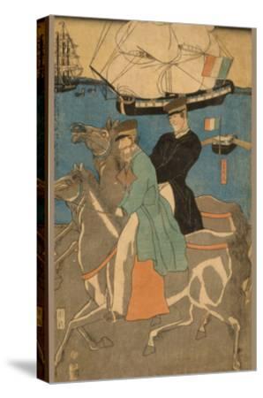 French Men Taking Horse Ride on Sunday in Yokohama (Yokohama Kyu?Jitsu Furansujin Uma Yu?Ko?)-Sadahide Utagawa-Stretched Canvas Print