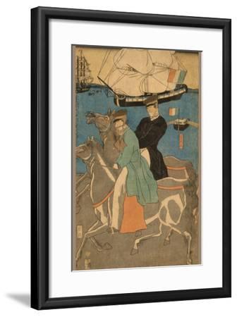 French Men Taking Horse Ride on Sunday in Yokohama (Yokohama Kyu?Jitsu Furansujin Uma Yu?Ko?)-Sadahide Utagawa-Framed Art Print