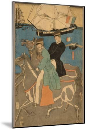 French Men Taking Horse Ride on Sunday in Yokohama (Yokohama Kyu?Jitsu Furansujin Uma Yu?Ko?)-Sadahide Utagawa-Mounted Art Print