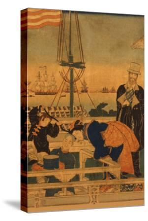 Foreign Mercantile House in Yokohama (Yokohama Ijin Shokan No Zu) No.1-Sadahide Utagawa-Stretched Canvas Print