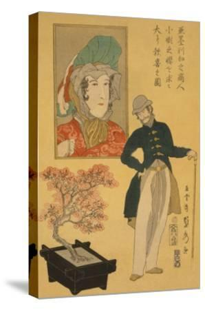 American Merchant Delighted with Miniature Cherry Tree-Sadahide Utagawa-Stretched Canvas Print