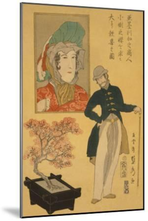 American Merchant Delighted with Miniature Cherry Tree-Sadahide Utagawa-Mounted Art Print
