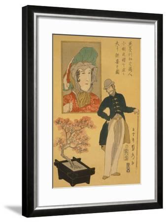 American Merchant Delighted with Miniature Cherry Tree-Sadahide Utagawa-Framed Art Print