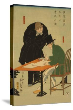 Foreigners in Yokohama Draw Up Contract in Mercantile House-Sadahide Utagawa-Stretched Canvas Print