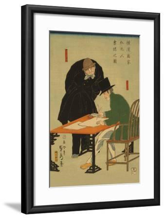 Foreigners in Yokohama Draw Up Contract in Mercantile House-Sadahide Utagawa-Framed Art Print